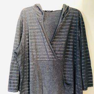 Hiatus 3X stripe gray hoodie w/pocket